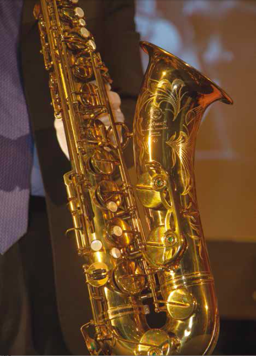 John Coltrane's Selmer tenor saxophone was donated by the Smithsonian Institute. PHOTO BY JEFF MALET, MALETPHOTO.COM
