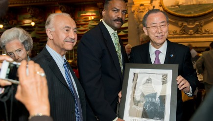 Vinnie Bagwell with UN Secretary General Ban Ki-Moon