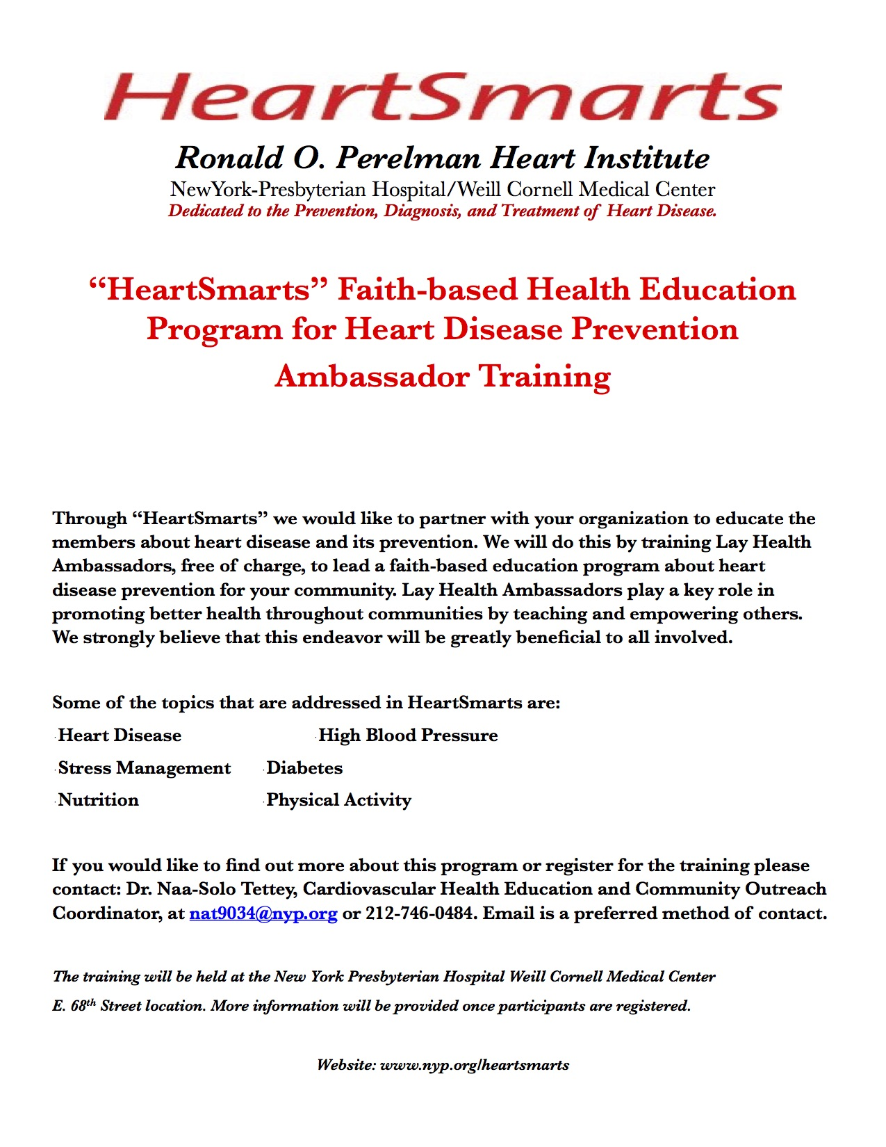 Heart Smarts Ambassador Training Main Flier 3-15
