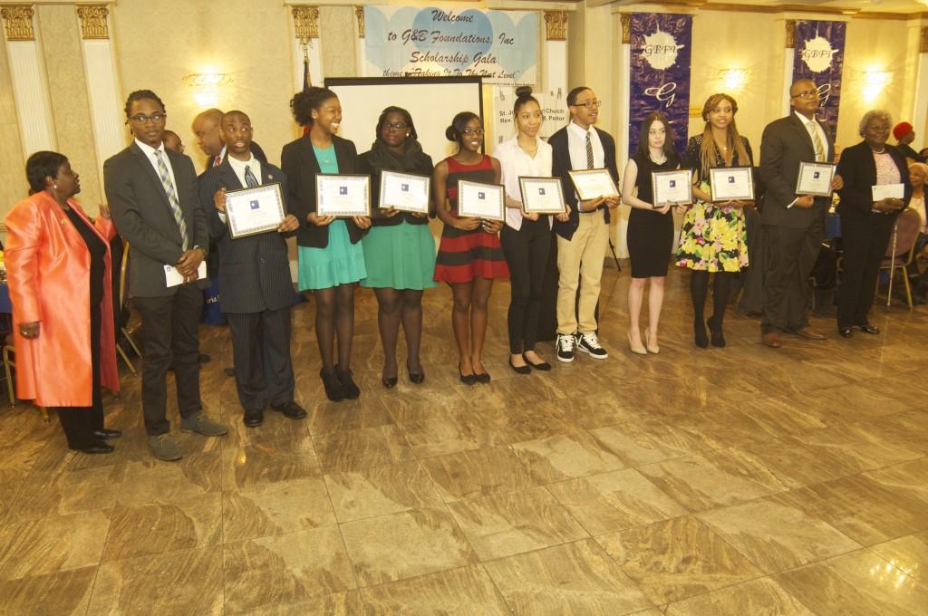 Far left-Gloria Benfield founder G&B Foundations, Inc. with 2015 Scholarship Awardees