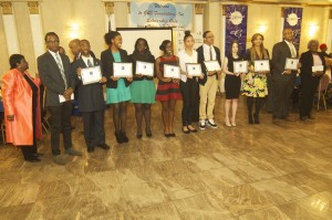 Far left-Gloria Benfield founder G&B Foundations, Inc. with 2015 Scholarship Awardees