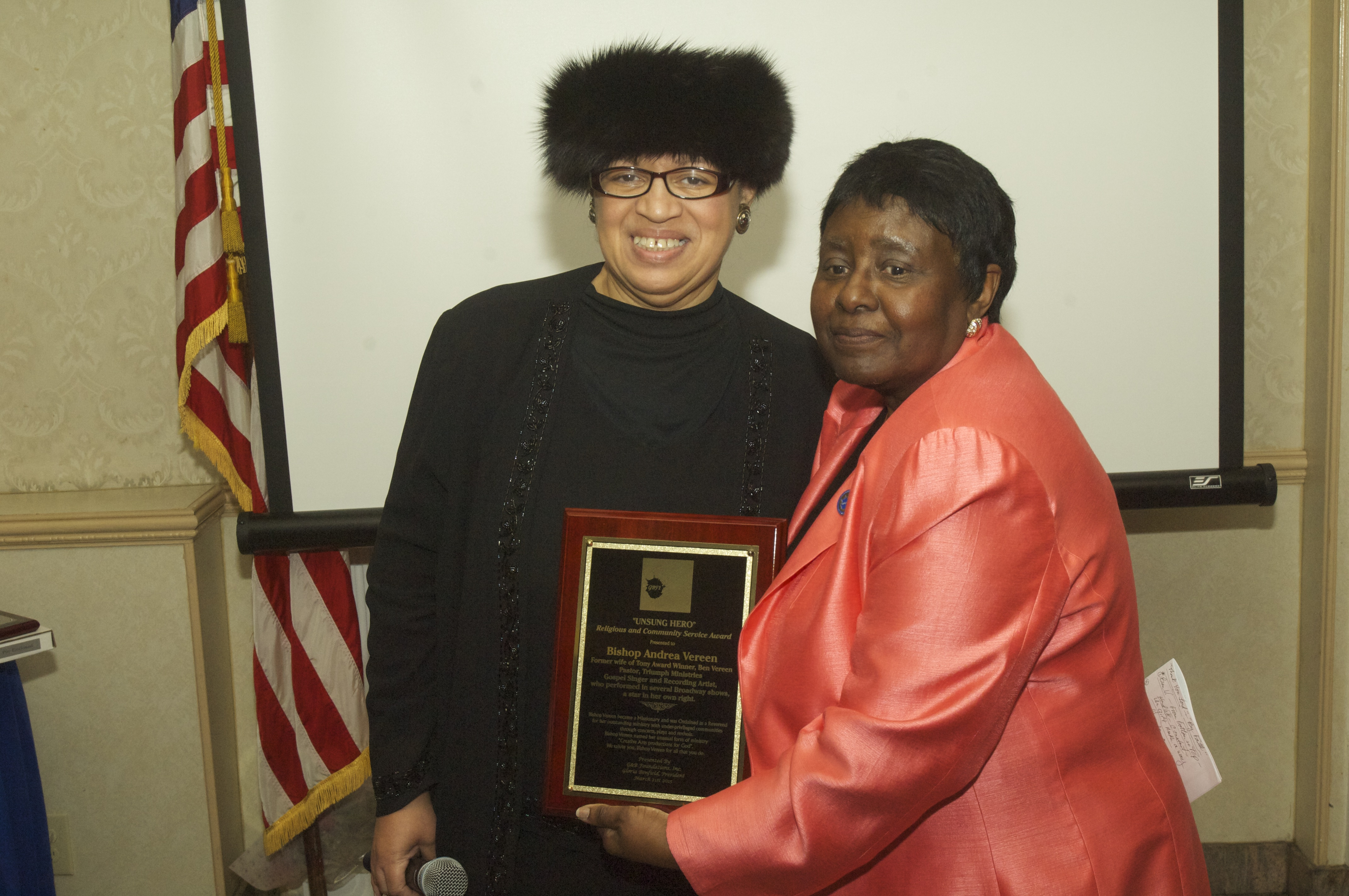 -L/R-Bishop Andrea Vereen (Religious and Community Service Honoree) with presenter Gloria Benfield (Founder, President & CEO G& B Foundations, Inc.)