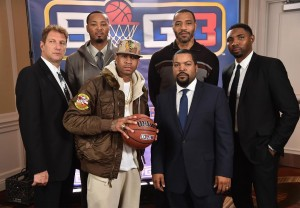 Allen Iverson, Ice Cube, Jeff Kwatinetz, Roger Mason, Jr.,  Kenyon Martin, and Rashard Lewis all posing for a picture at the launch of their new league.