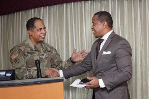 Gen. Abramson with Reverend Dana P. Owens, Pastor of Messiah Baptist Church, East Orange, NJ