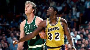 Magic Johnson and Larry Bird on the court